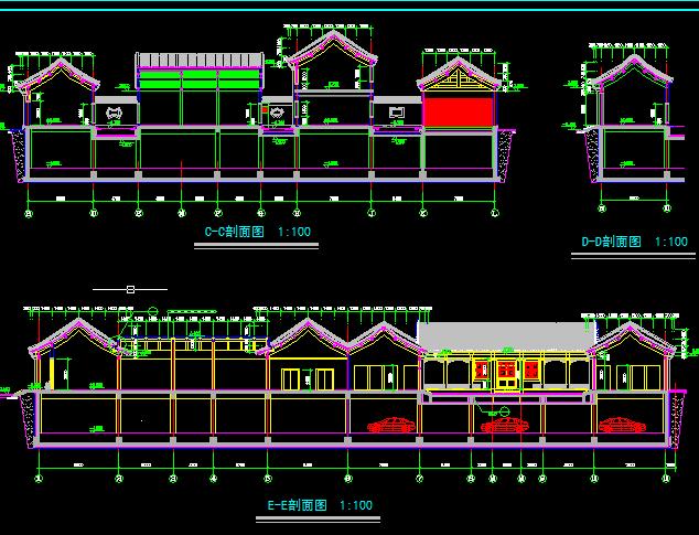 某古建筑方案设计及施工全套CAD剖面图图片3