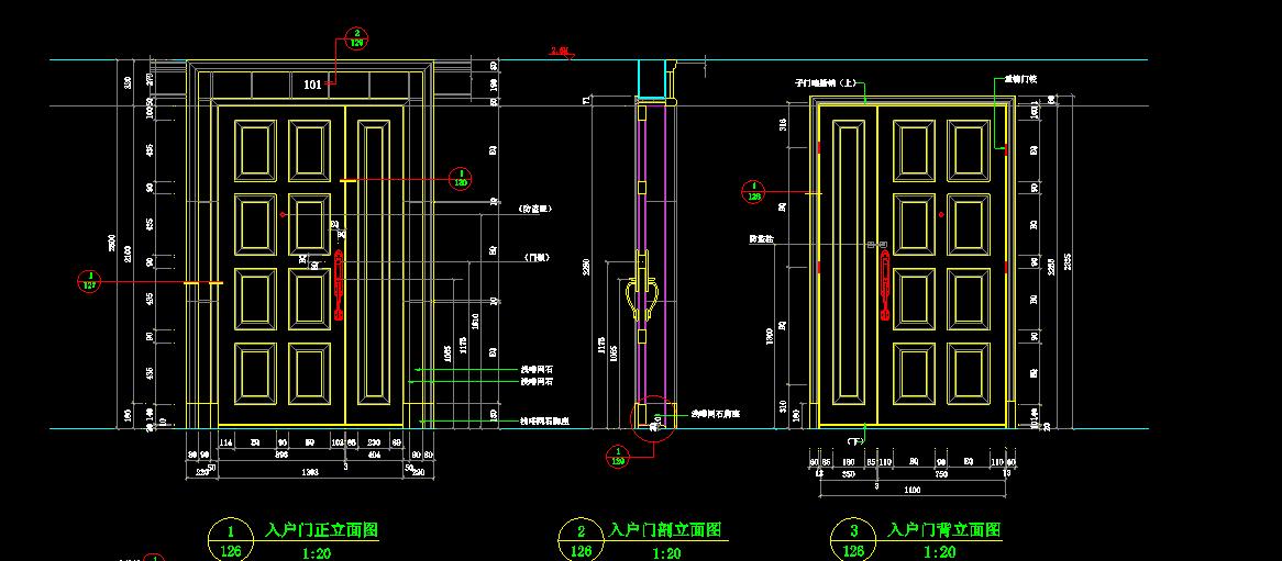 中式别墅建筑入户门cad设计详图图片1