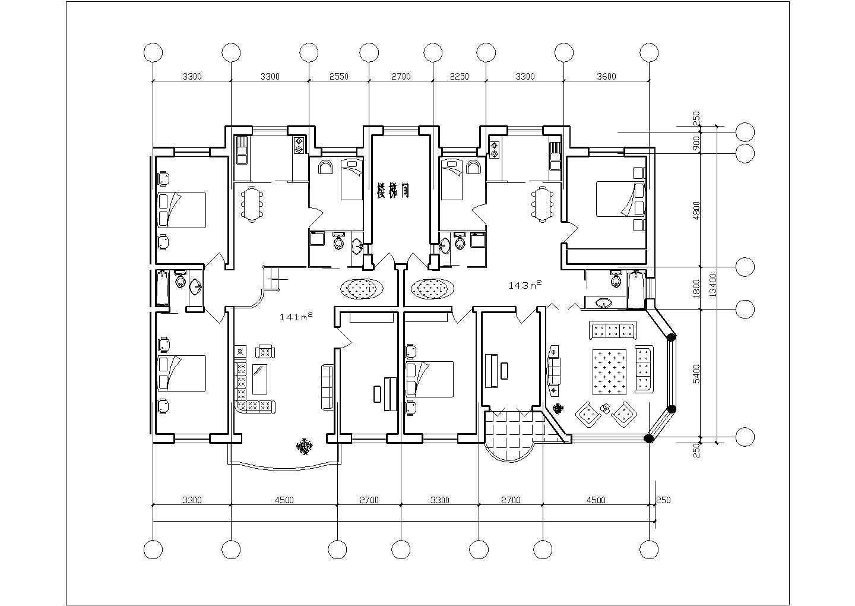 经典布局-一梯两户住宅户型图(共16张)图片1