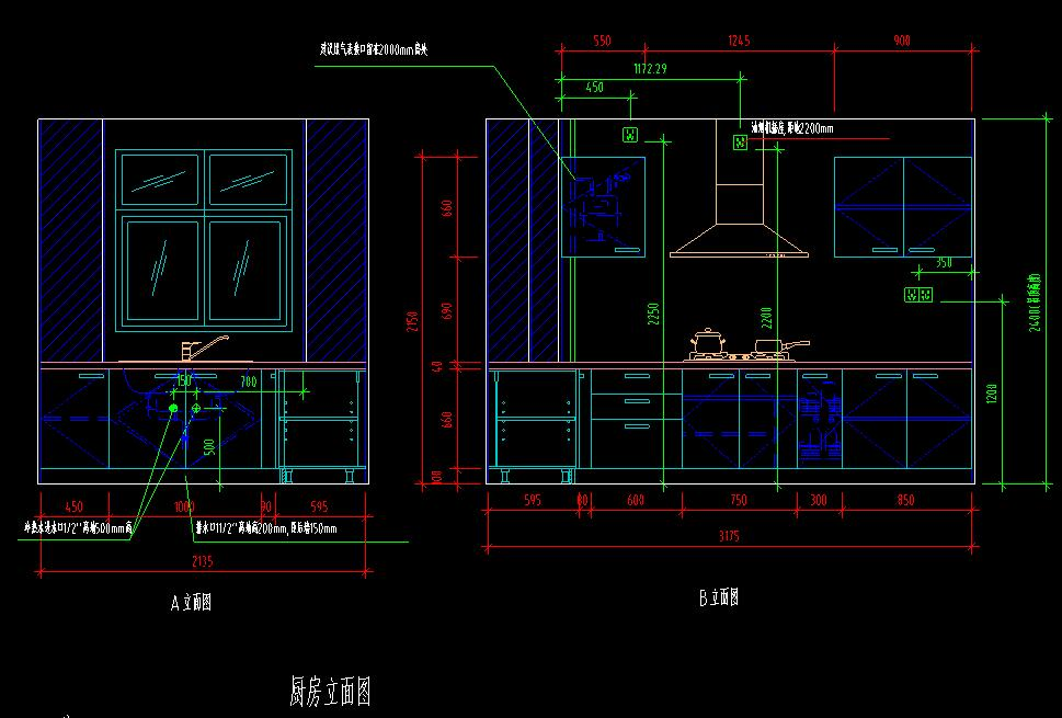 整体厨房室内装修设计方案的cad施工图图片2