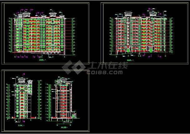 高层住宅平面图cad_[高层住宅]某高层住宅的cad平面设计立面图 - 土木在线