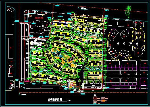 某地的一小区的CAD总平面定位图图片1