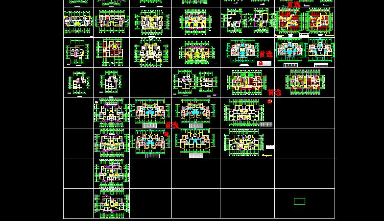 十分齐全的一梯两户住宅户型图(共70张)图片2