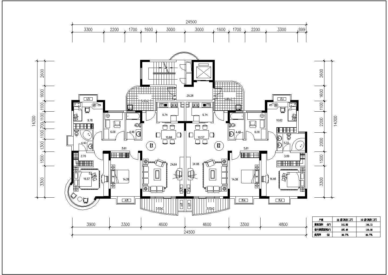 300余张详细一梯两户住宅户型图设计图片3