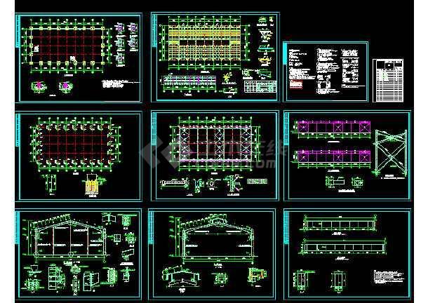 点击查看某24m跨门式刚架轻型房屋钢结构厂房整套cad设计施工图第1张大图