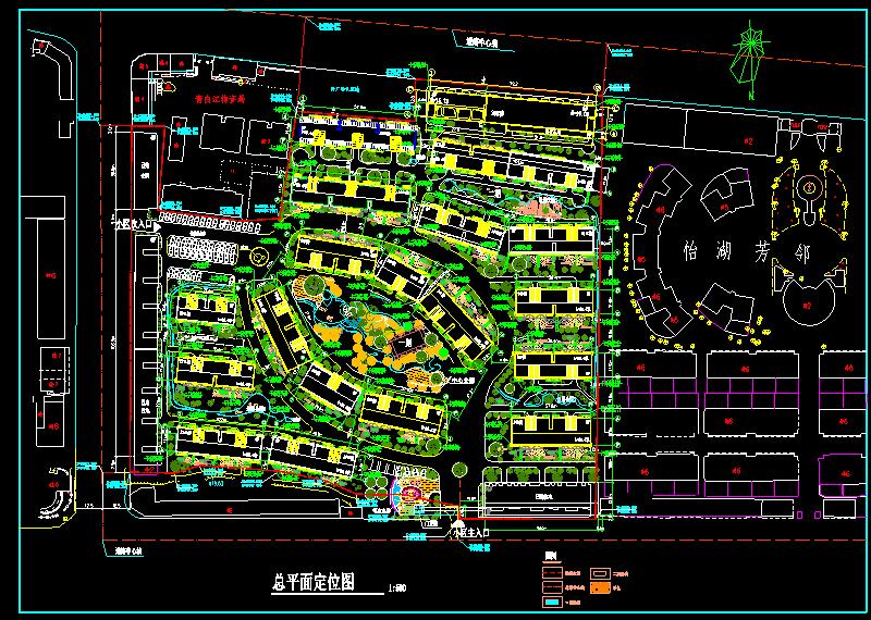某市小区cad设计总平面定位方案图图片1