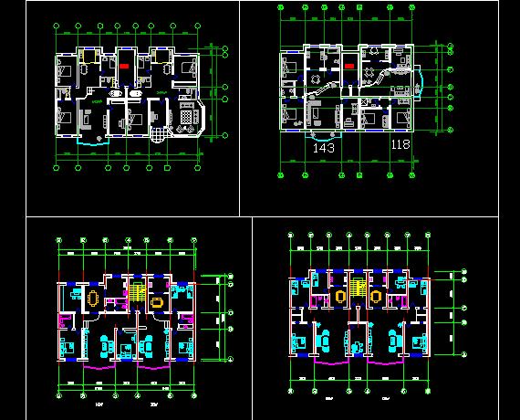 经典一梯两户住宅建筑施工CAD设计方案图纸图片1