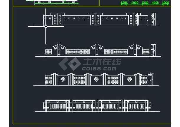 某地区围墙铁艺栏杆设计装修方案cad-图二
