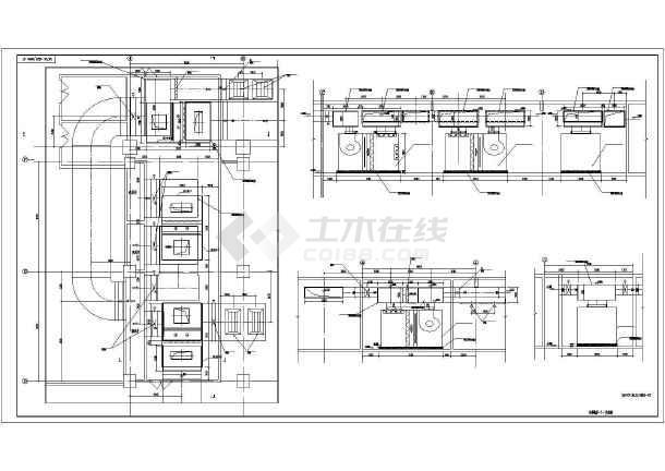 某时代广场组合式空气处理机组AHU平面图、立面图、剖面图-图1