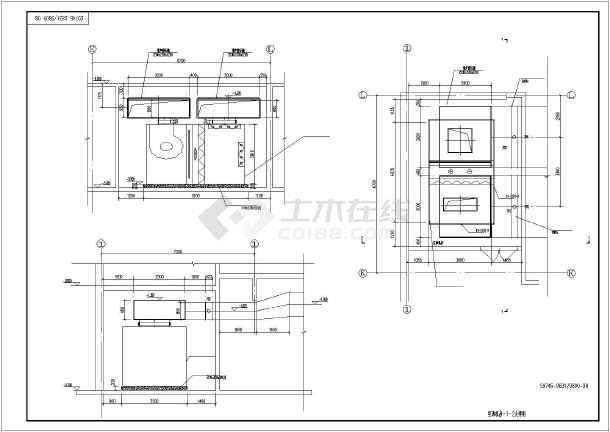 某时代广场组合式空气处理机组AHU平面图、立面图、剖面图-图2