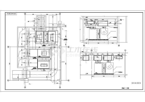 某时代广场组合式空气处理机组AHU平面图、立面图、剖面图-图3
