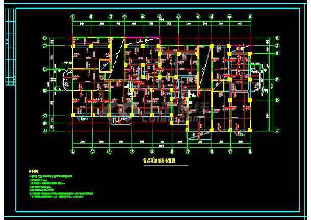 剪力墙结构小高层住宅楼建筑工程cad施工设计图-图二