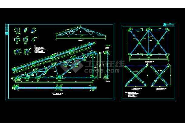 点击查看钢结构屋架结构详图图纸第1张大图