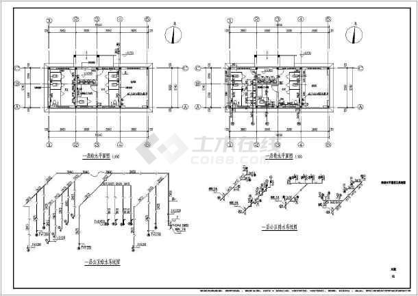 移沿山游船码头公共厕所给排水设计CAD图纸(含设计施工说明)-图1