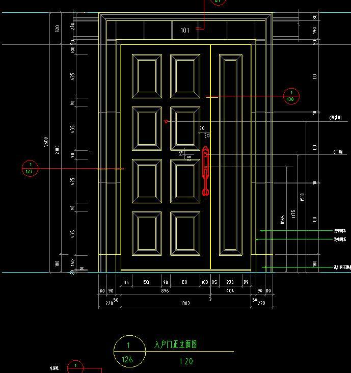 某高档住宅别墅入户门装修cad设计图图片2