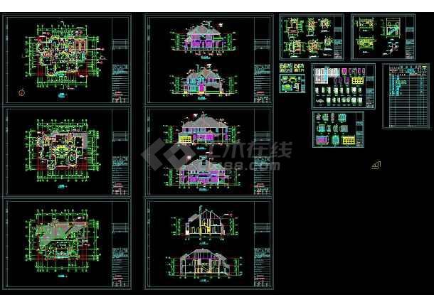 点击查看某地多层坡屋顶别墅建筑设计cad图第1张大图