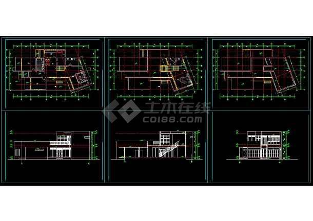 点击查看某地多层现代别墅建筑设计cad方案图第1张大图