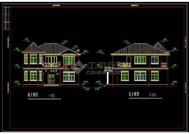 某地多层特色小别墅建筑设计cad施工图-图二