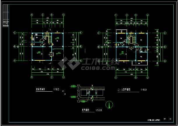 某地三层住宅别墅建筑设计cad施工图附带效果图-图二