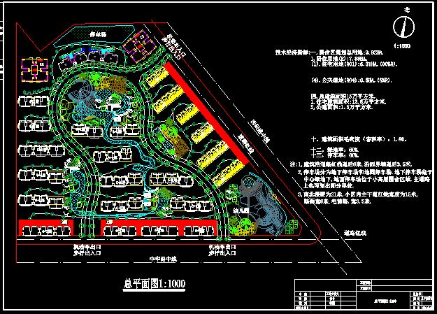 某住宅小区景观绿化及规划cad设计施工总平面图图片1