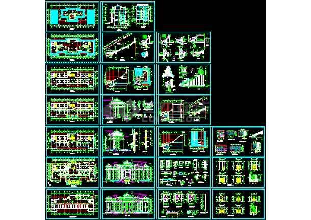 点击查看某市区办公楼施工图+(仿古)CAD图纸第1张大图