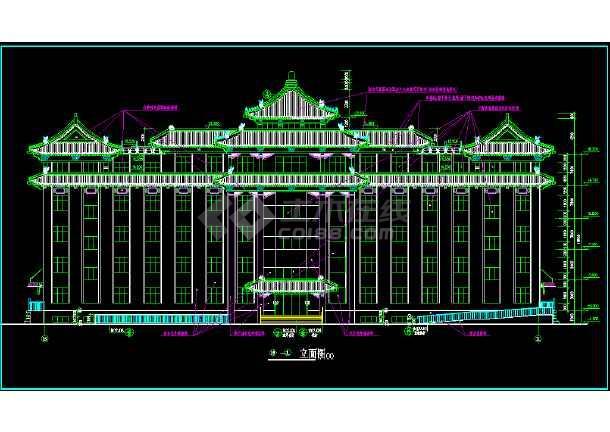 某市区办公楼施工图+(仿古)CAD图纸-图1