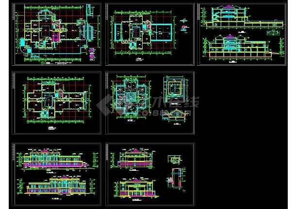 点击查看某小区内高档会所建筑设计CAD施工图第1张大图