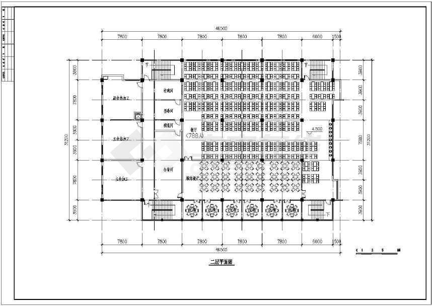 点击查看某地小型食堂建筑方案图(标注详细)第1张大图