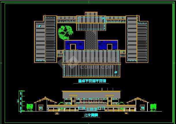 某园林会所施工装修CAD平面设计图-图2