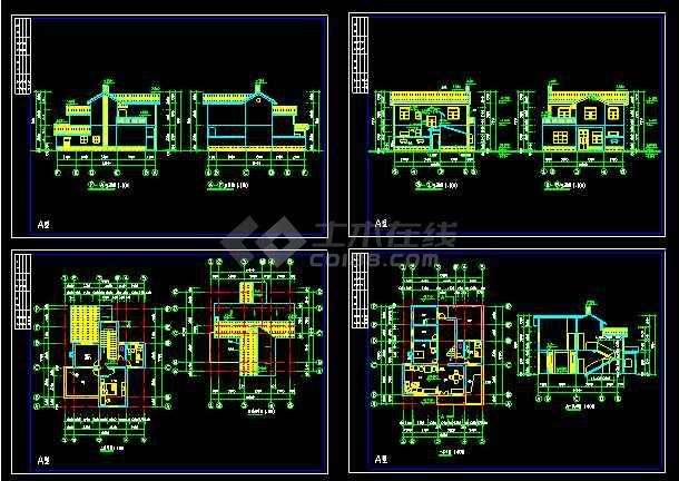 点击查看某农村别墅经典建筑CAD设计施工图第1张大图
