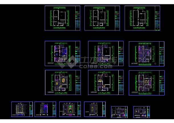 点击查看金源酒店后别墅三层经济型别墅室内cad装修图(含效果)第1张大图