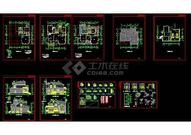 点击查看豪华别墅建筑cAD设计施工图附效果图第1张大图
