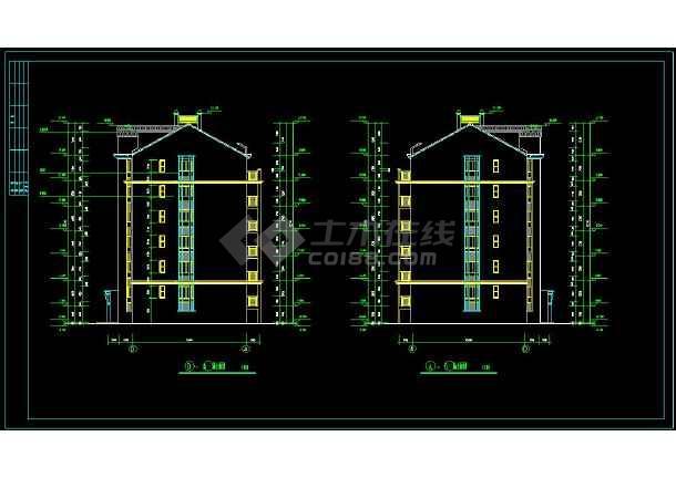 某小区精美多层住宅建筑方案设计CAD施工图-图二