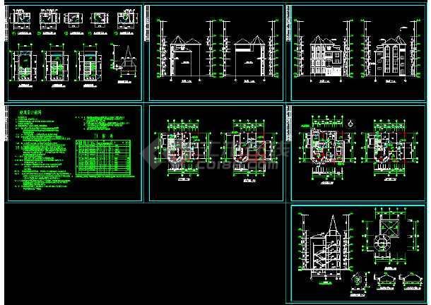 点击查看某城市复式别墅小区CAD设计施工图(内含设计说明)第1张大图