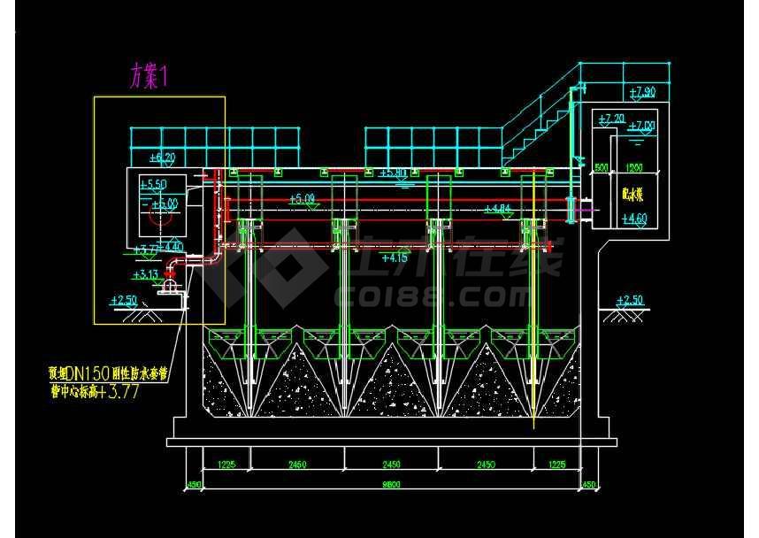 某工程活性砂滤池参考设计CAD图纸-图2