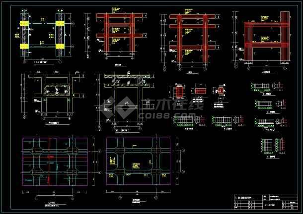 一级热网架混凝土管道支架cad结构设计施工图-图2