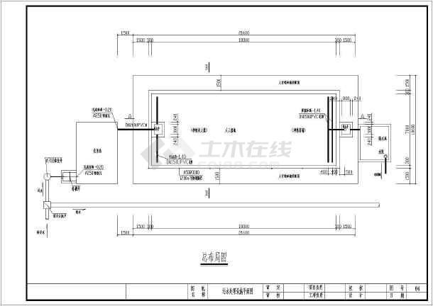日处理30方生活污水人工湿地工艺CAD施工图(含设计说明)-图1