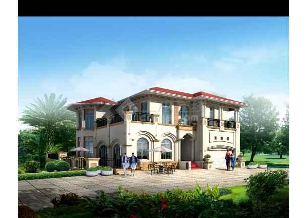 某小区高级别墅设计施工建筑效果图-图二