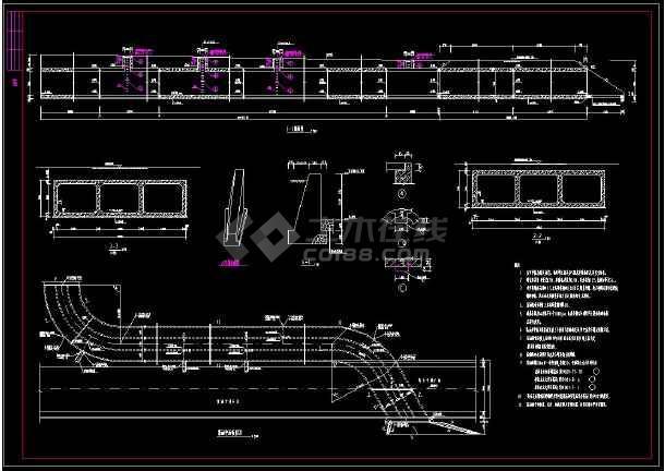 某地三孔箱涵全套结构cad设计施工图-图2