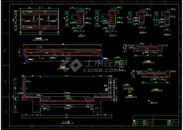 全套跨渠道公路桥和人行桥cad施工设计方案图-图2