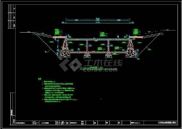 某地双层河道断面详细cad设计施工图-图1