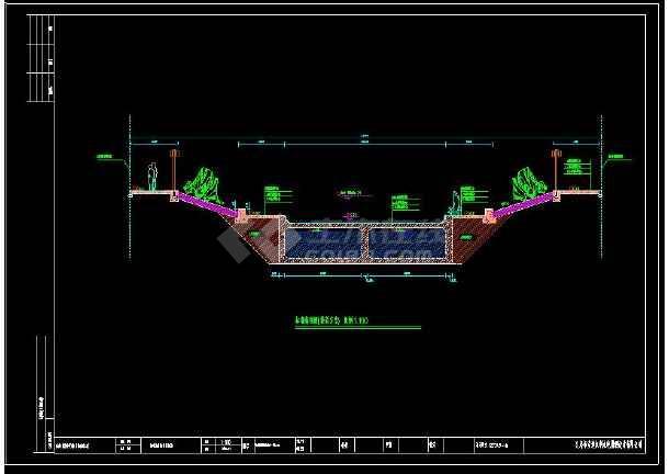 某地双层河道断面详细cad设计施工图-图2