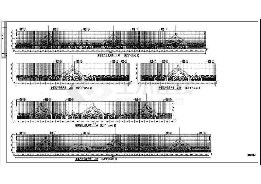 人行天桥栏杆大样路桥图(标注详细)-图1
