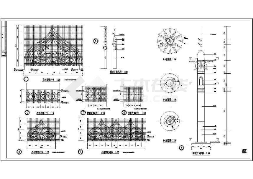人行天桥栏杆大样路桥图(标注详细)-图3