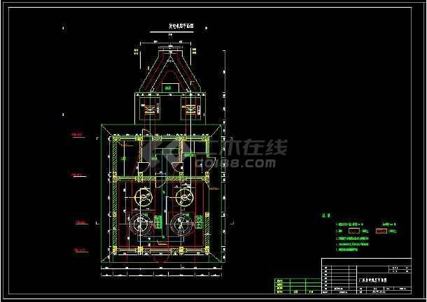 某水利电站厂房详细设计cad建筑施工图-图3