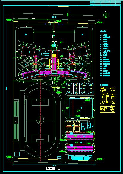 某学校规划cad总平面定位设计图图片1