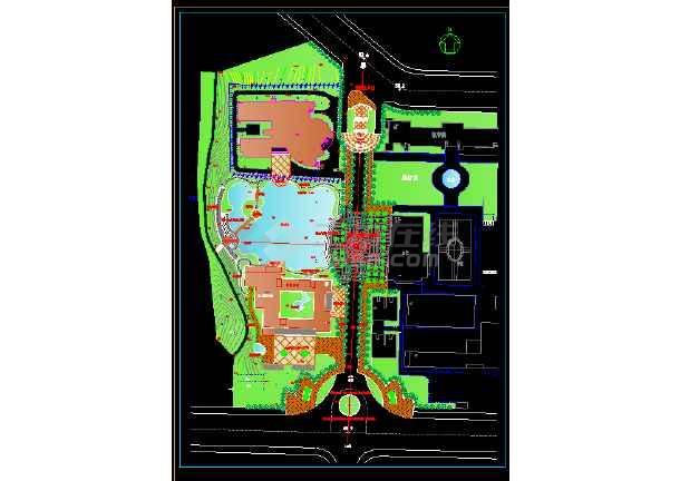 某专科学校景观规划cad平面设计图-图1