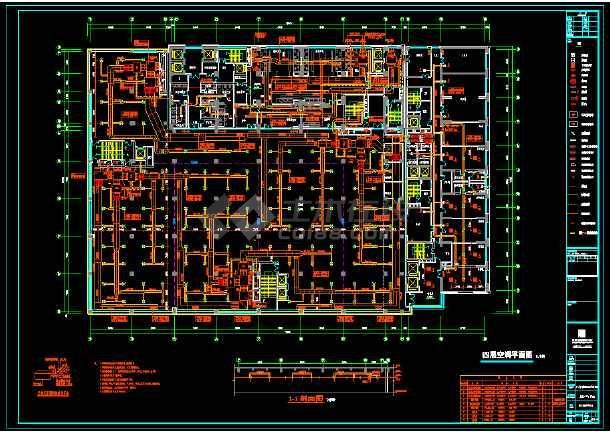 某4层建筑空调cad平面设计施工图-图1