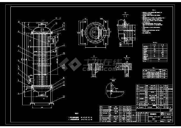 某经典换热器总安装示意cad施工图-图2