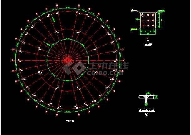 某网架檩条平面布置设计CAD图纸-图3